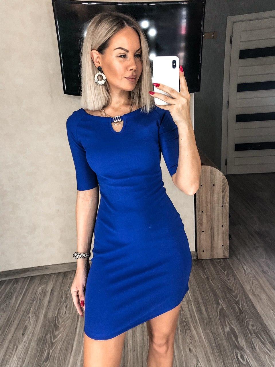 Короткое платье футляр Электрик