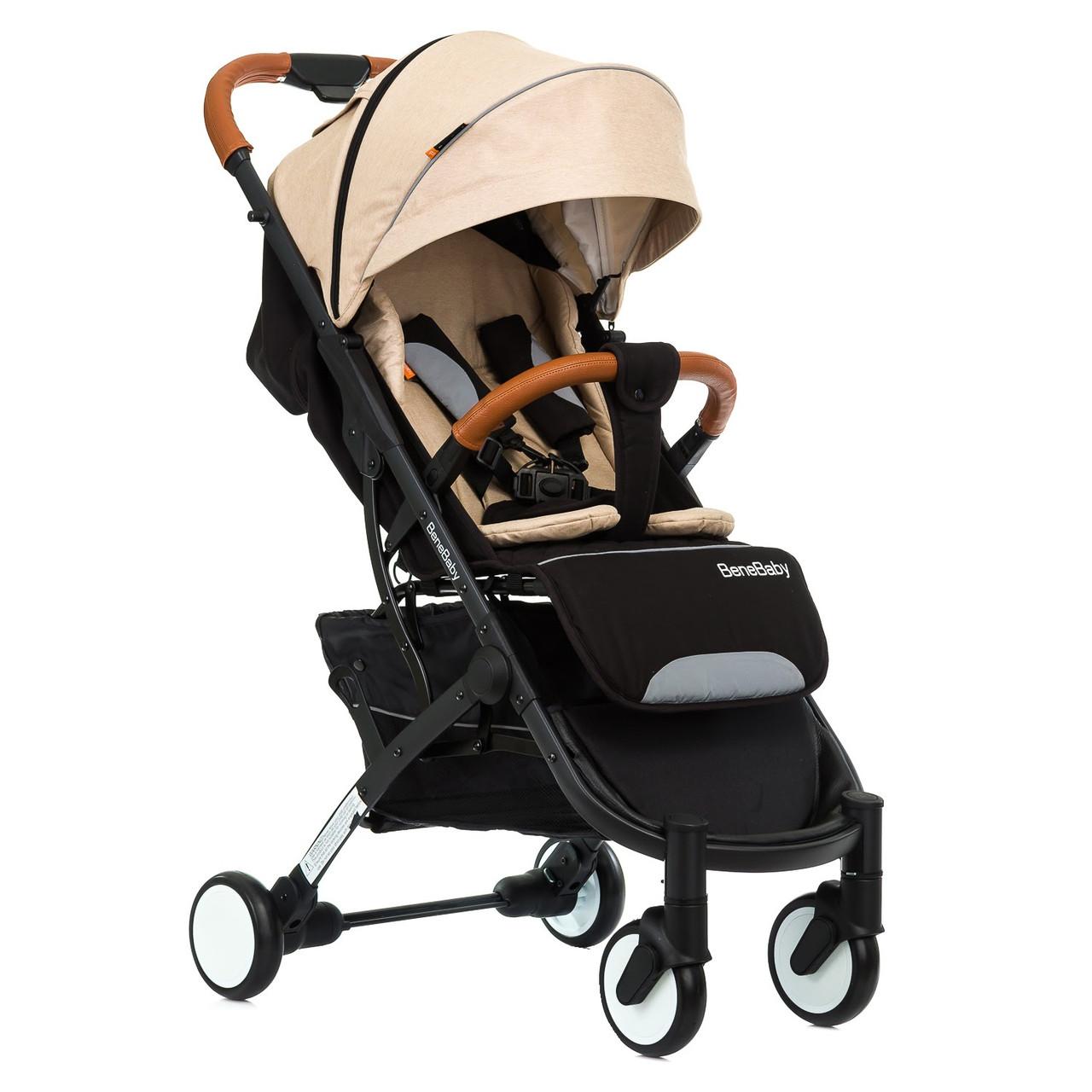 Коляска прогулянкова Bene Baby D200 бежева на чорній рамі