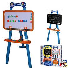 Детский мольберт для рисования двухсторонний с магнитной азбукой арт.0703