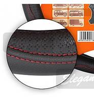 Чехол на руль КОЖА L (39-40см) черный-красная нитка Elegant 105687
