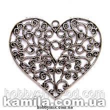 "Кулон металлический ""ажурное сердце"" серебро ( 6,3х6 см) 1 шт в уп."