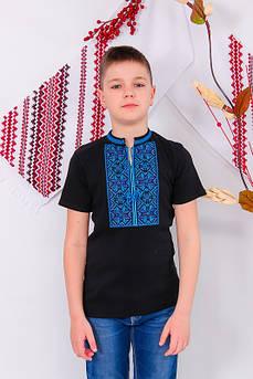 Черная вышиванка для мальчика с коротким рукавом Олесь с синей вышивкой Размер 122 - 134 см