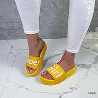 Женские жёлтые шлепки SUPER GIRL, фото 1