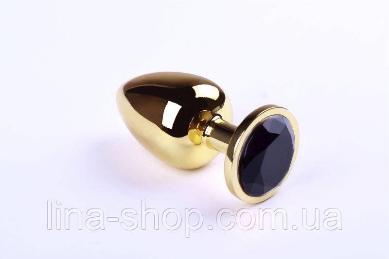 SLash - Анальна пробка,Gold Black Diamond,L (280900)