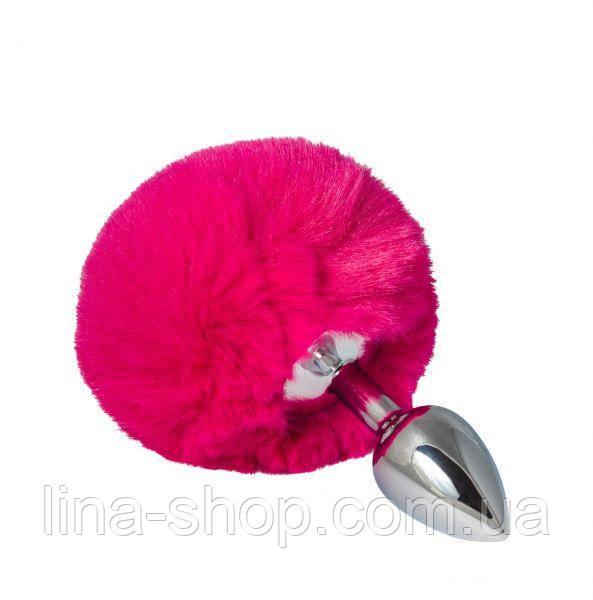 SLash - Металлическая анальная пробка с помпоном S, pink (281097)