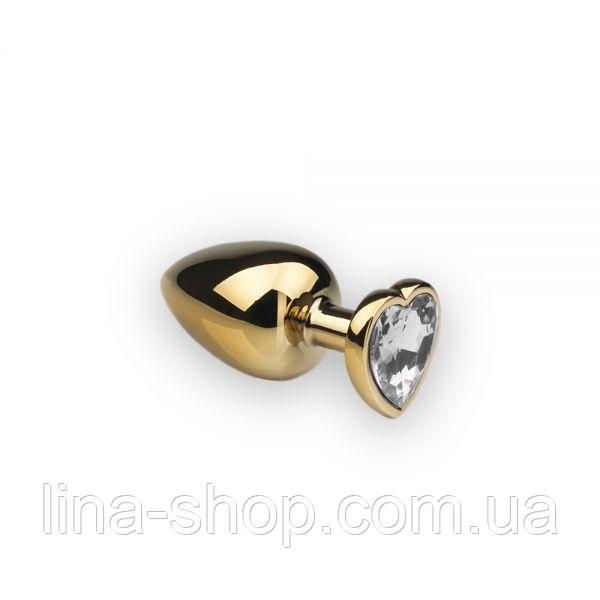 SLash - Анальная пробка,Gold Heart Diamond, M (281175)
