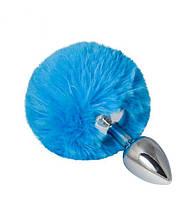 SLash - Металлическая анальная пробка с помпоном S, deep blue (280733)