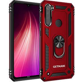 Ударопрочный чехол Getman Serge Ring магнит  Xiaomi Redmi Note 8T красный