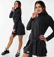 Теплое платье из ангоры-софт с воротником-хомут, туника женская мини графитового цвета повседневная молодежная
