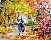 "Картина по номерам ""Осенний парк, скамейка, двое"" Белоснежка 40х50 см"