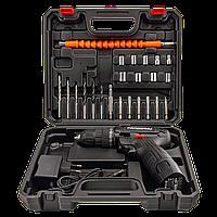 Аккумуляторный шуруповерт Pracmanu (черный) НАБОР с насадками + Доп. Аккумулятор