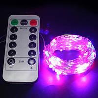 Светодиодная гирлянда LTL нить капля росы 100 led, 10 метров c пультом розовая Pink, батарейки