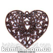 "Кулон металлический ""ажурное сердце"" медь ( 6,3х6 см) 1 шт в уп."