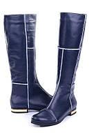 Женские повседневные сапоги кожаные, зимние, на низком каблуке