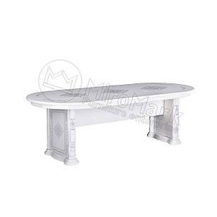 Стол столовый Чикаго раздвижной ТМ Миро марк Белый глянец