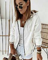 Бомбер из плащевки с капюшоном женский БАТАЛ (ПОШТУЧНО), фото 1