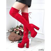 Красные ботфорты чулки на каблуке и платформе, фото 1