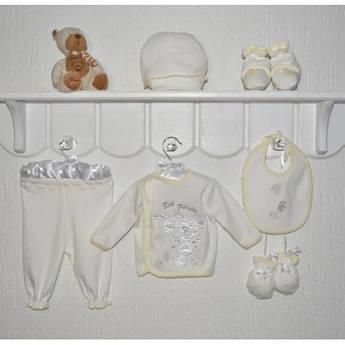 Детский комплект на выписку новорожденному Друзья Размер 56 - 62 см Молочный цвет