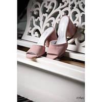 Пудровые босоножки шлепанцы на каблуке