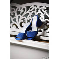 Босоножки шлепанцы на каблуке синие
