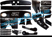 Тюнинг набор салона ВАЗ 2104 2102 накладка панели акустическая полка карты двери обшивка салона черный