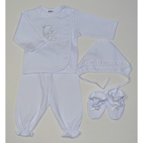 Комплект крестильный для новорожденного белого цвета Ангелочек Размер 62 см