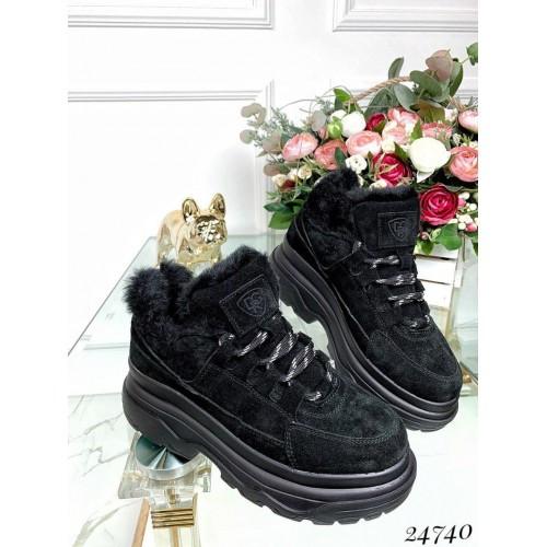 Зимние замшевые кроссовки на платформе