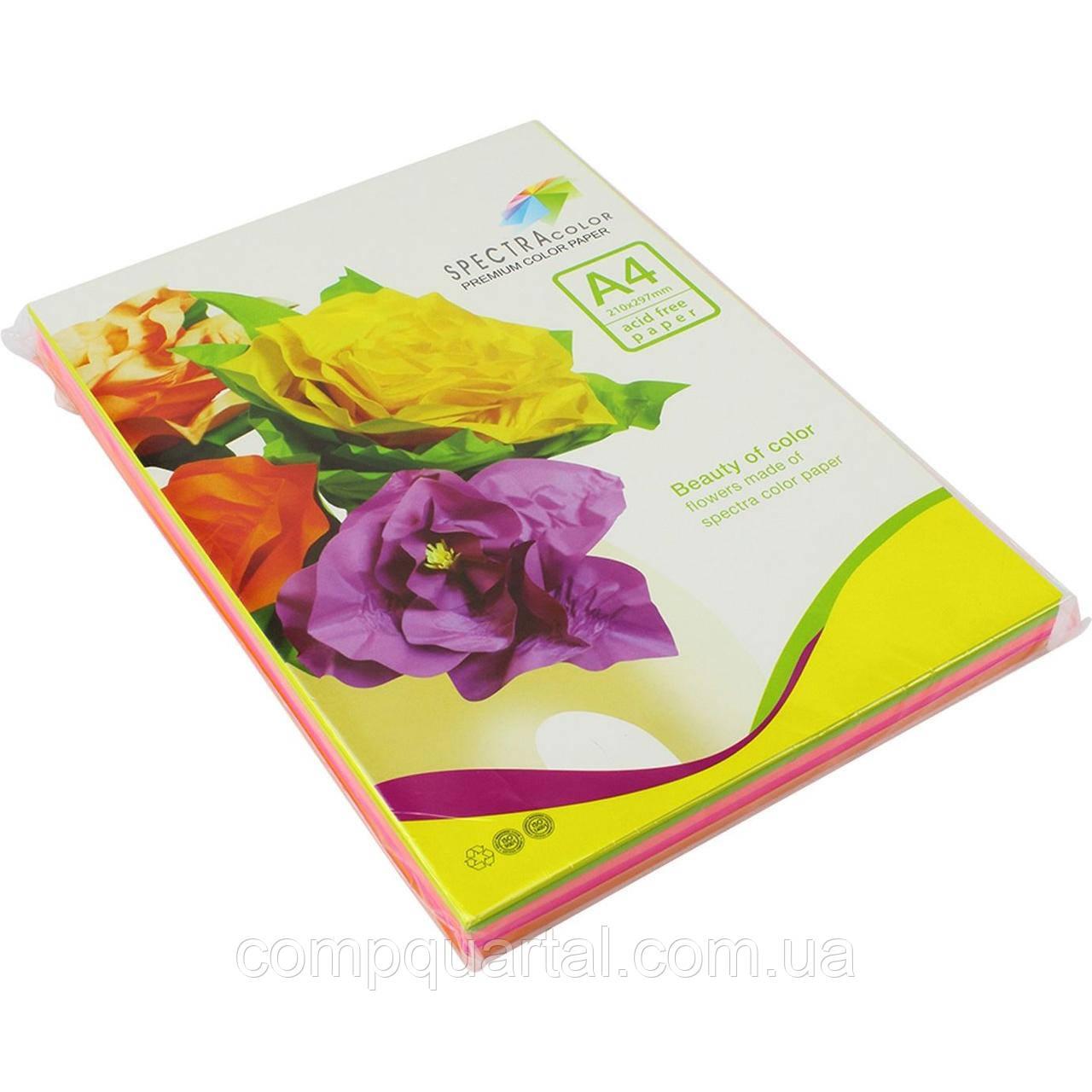 """Папір кольоровий 160г/м, А4 5кол./10шт./50арк. SPECTRA COLOR Rainbow Pack IT82 """"A"""" (Інтенсивний)"""
