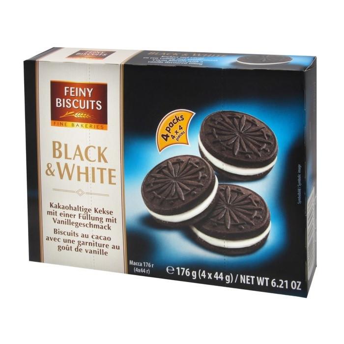 Печенье шоколадное сендвич с молочной начинкой Feiny Biscuits Black & White 176 г Австрия