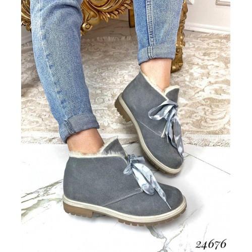 Зимние серые ботинки натуральный мех