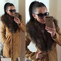 Кашемировое пальто с мехом, фото 1