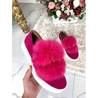 Туфли слипоны с мехом автоледи розовые, фото 1