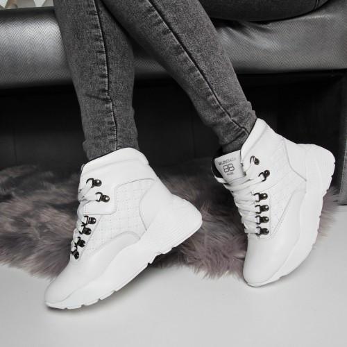 Белые ботинки Balenciaga зимние на шнурках натуральная кожа. Аналог