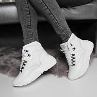 Белые ботинки Balenciaga зимние на шнурках натуральная кожа. Аналог, фото 1