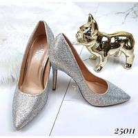 Туфли лодочки в стразах серебряные, фото 1
