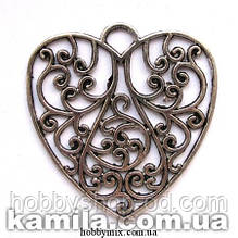 "Кулон металлический ""ажурное сердце"" серебро (5х5,3 см) 1 шт в уп."