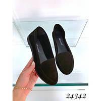 Туфли лоферы черные. Натуральный замш