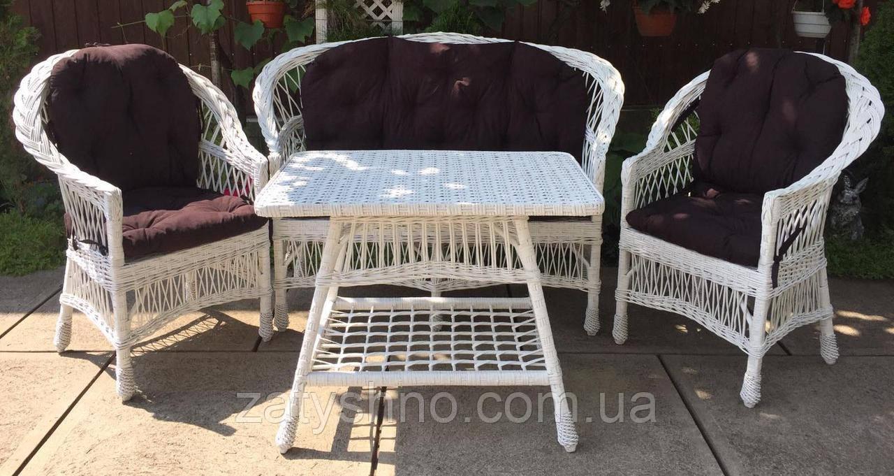 Белая мебель плетеная и подушками   Комплект плетеной мебели белой    мебель садовая с накидками