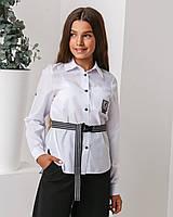 """Белая школьная блуза рубашка  для девочки """"Тик-ток"""" 128р"""