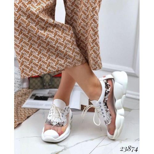 Кроссовки на дутой подошве вставка сетка с пайетками белые