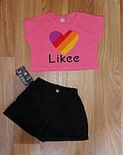 Костюм лайки топ и шорты подростковый розовый костюм Likee 140-146