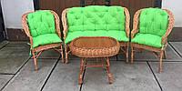 Комплект плетеной мебели  со столом|  Мебель с салатовыми  накидками | мебель дачная