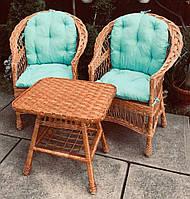 Комплект плетеной мебели  с журнальным столом|  Мебель  с голубыми накидками | мебель дачная на подарок