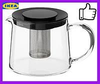 Чайник заварочный IKEA RIKLIG 0.6 л стеклянный заварник РИКЛИГ ИКЕА