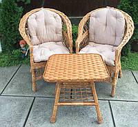 Мебель из лозы  с журнальным столом|  Мебель  с розовыми накидками | мебель дачная подарочная