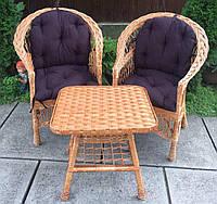 Мебель из лозы  с маленьким столом| Дачная плетеная мебель | мебель балконная с накидками