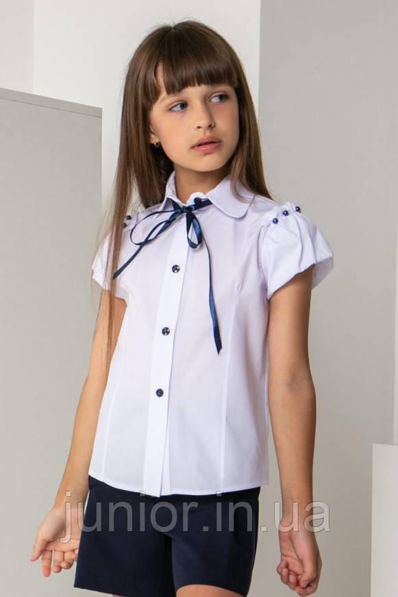 Школьная  блуза c коротким рукавом для девочки  (134-146р)