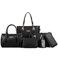 Набор сумок 6 в 1 (большая сумка, маленькая сумка, клатч, кошелек, косметичка, ключница)
