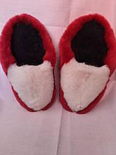 Тапочки меховые красно - белые