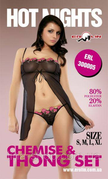 Erolin - Пеньюар і трусики Nights Hot Black, L (ERL300005 L)
